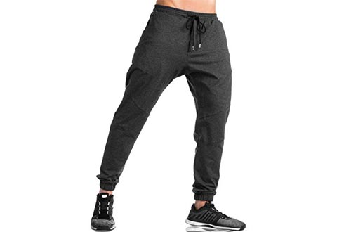KEFITEVD Men's Athletic Pants Gym Workout Sweatpants Comfortable Slim Fit Tapered Pants with Pocket